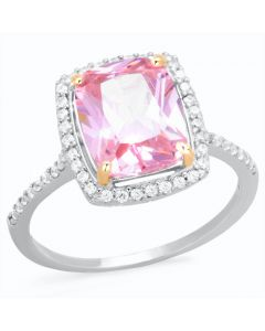 Ah! Jewellery® Sterling Silver Ravishing Radiant Pink Simulated Diamond Ring, Stamped 925.