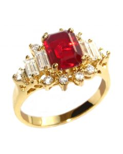 Ah! Jewellery®  24k Gold Electroplated Ruby Red Simulated Diamond Ring, Stamped 316.