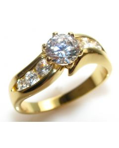 Ah! Jewellery Free Engraving Of Your Choice! Simulated Diamonds Clear Crystal Heavily Gold Electroplated Ring.