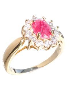 Ah! Jewellery Ladies Stunning 8mm x 6mm GENUINE PRECIOUS 1.45CT Ruby Centre Stone UK Guarantee: 3µ. Gold Filled Ring Surrounded By Brilliant Round LAB Created Diamonds. 3.6GR.