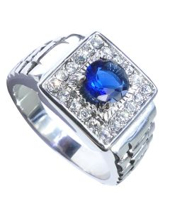 Men's Stainless Steel Crafted Ring With Emerald Cut Royal Blue Simualted Diamond