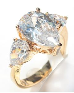 Ah! Jewellery! Women's Gold Filled 18 Kt Ring. Flawless 8mm Pear Cut Simulated Diamond Centre Stone. UK Guarantee: 3µ