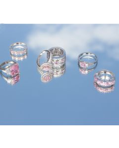Silver and Pink Wide Ring