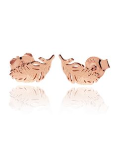 Rose Over Sterling Silver Feather Stud Earrings