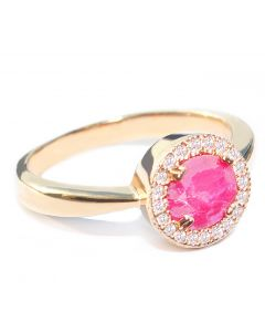 GIFT BOXED! Ah! Jewellery® Gold Filled GENUINE Precious 1.45ct RUBY Halo Ring. Gemstone Surrounded by Small Brilliant Rounds. UK Guarantee 3µ