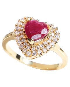 GIFT BOXED! Ah! Jewellery® Ladies Genuine Precious 1.45CT RUBY Heart Gemstone Engagement Ring. Gold Filled, UK Guarantee 3µ. Stamped GL.