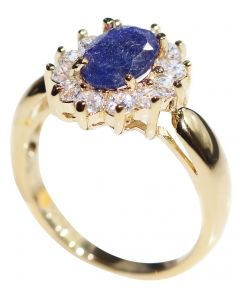 Ah! Jewellery® Gold Filled Genuine Precious 1.45ct SAPPHIRE Gemstone Surrounded By Small Brilliant Clear Rounds Ring. UK Guarantee 3µ, Stamped GL.