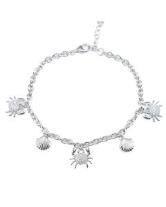 Sterling Silver Seashell and Crab Charm Bracelet Set With Sparkling Simulated Diamonds