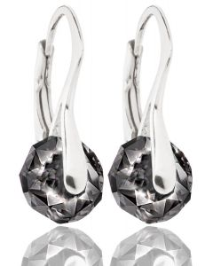 AH! JEWELLERY® STERLING SILVER SILVER NIGHT CRYSTALS FROM SWAROVSKI® BRIOLETTE EARRINGS, STAMPED 925