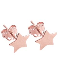 Rose Over Sterling Silver Star Studs
