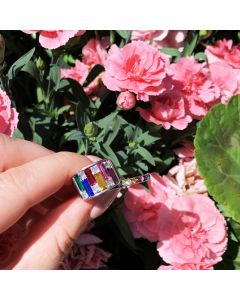 Sterling Silver Channel Set Full Eternity Band Rainbow Themed Cubic Zirconia Ring