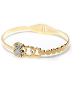 18k Yellow Gold Filled Over Stainless Steel Silver Stardust Teddy Bear Bangle