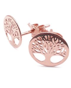 Rose Over Sterling Silver Tree Of Life Studs