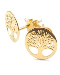 Gold Over Sterling Silver Tree Of Life Studs