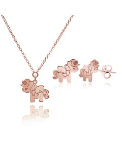 Ah! jewellery® Unicorn Necklace & Studs Set, Finished in 18K Rose Gold Over Sterling Silver