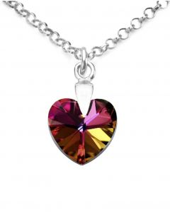 Ah! Jewellery® 10mm Volcano Heart Crystal From Swarovski® Sterling Silver Necklace, Stamped 925.
